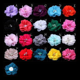 Wholesale Rhinestone Shoe Ornaments - 20 Colors Mini Chiffon Flowers With Pearl Rhinestone Center For Hair Clips Lace Flower For Kids Hair Shoes Brooch Ornament Accessories