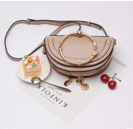 Wholesale Cowhide Clutches - Designer Handbag 2017 New fashion vintage Metal gilding half moon nile bag women handbag genuine leather clutch bag cowhide tote bag
