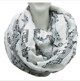 Wholesale Burgundy Sheets - Free Shipping 2016 New Fashion White Burgundy Navy Music Note Sheet Music Piano Notes Script Print Scarves Infinity Scarf HJIA1177