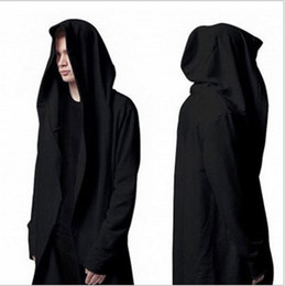 Wholesale Male Cape - Wholesale-Male Street Original Designs Hip Hop Sweatshirt Autumn Long Hooded Wizard's Cloak Cape Hoodies Men Cardigan Black
