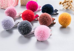 Wholesale Girls Grips - 50pcs  Pom pom Ball Grips Girls' Hair Clips KIds Elastic rubber band hair rope Fashion baby girls hair accessories gift!