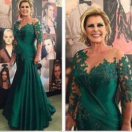 Wholesale Long Sleeve See Through Shirt - 2017 New See Through Pleated Lace Mother of the Bride Dress Mermaid Hunter Green Vintage Red Carpet Applique Hot Sale Formal Evening Gowns