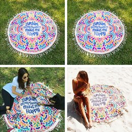 Wholesale Wholesale Towel Fabric - 150CM Round Beach Towel Bohemian Style Rayon Fabric New Summer Fashion Girls Women Tassel Beach Towels Beach Mat Printed Towels Shawl 529