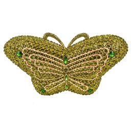 Wholesale Butterfly Clutch Purses - Wholesale- Stylish 2016 Latest butterfly Rhinestone Luxury Crystal Evening Bag Animal Green Golden Party Purse Soiree Day Clutches 88580