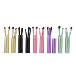 Wholesale Gold Pony - 5pcs set Professional Pony Hair Eyeshadow Brushes Set Makeup Brushes For Eye Makeup Tool Kit With Round Tube CCA7441 50set