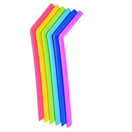 Wholesale Wholesale Drinking Cups Straws - silicone drinking straws for cups food grade 25cm silicone straight bent straws sets 6 straws with 2 brushes drinking starws