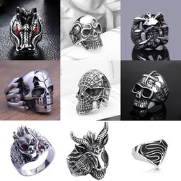 Wholesale Wholesale Biker Skull Jewelry - Fashion New Style Hot Selling popular Cool Men's Stainless Steel Fashion Gothic Punk Skull Head Biker Finger Rings Jewelry - Free Shipping