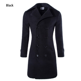 Wholesale Winter Trench Coat Big Men - Wholesale- HOT Fashion 2015 New X-Long Men's Trench Coat Double Breasted Men Winter Overcoat Big Yards M-3XL Solid Men Wool Coat 3 Colors