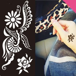 Wholesale Tattoo Traditional - Wholesale-Free shipping 1pcs Indian traditional henna tattoo template professional Fashion disposable body paint body art stencil