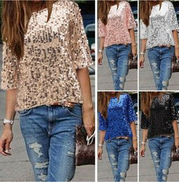 Wholesale Sequin Tees - Sexy 5 colors sequins off shoulder half sleeve T-shirt paillette Tees spangled dinner party Tops plus size 3XL