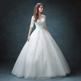 Wholesale Elegant Lace Diamond Wedding Dress - Ball Gown New Romantic Diamond White Lace Beaded Appliques Up Wedding Dresses Sexy Boat Neck Half Sleeve Bride Gown 2016 Elegant Ball Gown