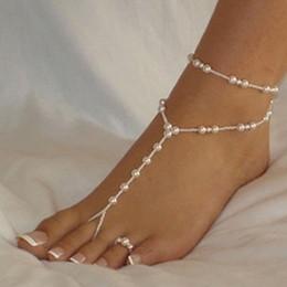 Imitaciones joyas online-Moda perla tobillera mujeres tobillo pulsera playa imitación perla sandalias descalzo tobillera para mujeres joyería de pie de cadena