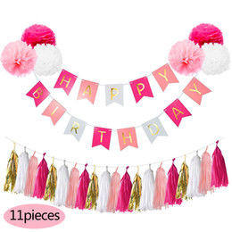 Wholesale Diy Pompom - Nicro 3M 11Pcs DIY Birthday Banner Set 25CM PomPom Tissue Paper Hanging First Birthday Party Decoration Set Party Event Supplies Wholesale