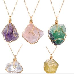 Wholesale Wholesale Raw Stones - Hot sale Kendra Scott Necklaces Natural Stone Pendant Clavicle Necklace For Women Raw Amethyst Point Jewelry Christmas Gift