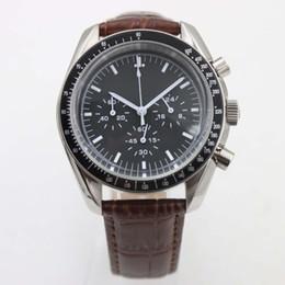 Wholesale Chronometer Quartz - 2017 Moonwatch Master Chronometer Co-axial Sport Mens Watches 40MM Quartz Watch APOLLO Astronauts Wristwatches Top Brand Leather Band