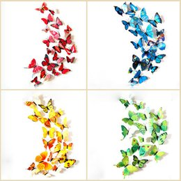 Wholesale Cartoon Character Bedroom Sets - 12 pcs set DIY 3D Butterfly wall stickers home decor for living room,bedroom,kitchen,toilet,and Festive wedding decoration