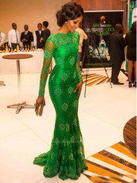 Wholesale New Special Occasion Dresses - New 2017 Bright Jade Green Mermaid Celebrity Evening Dresses Long Sleeves Bateau Neck Luxury Applique Lace Prom Gowns Sheer Formal Vestido
