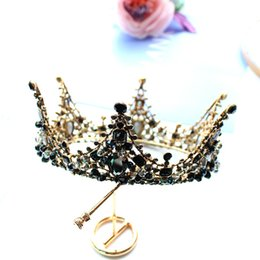 Wholesale Resin Bows - 2017 Black Baroque Vintage crowns tiaras beaded crown for wedding bride Bridal Luxury Rhinestone Crystal Hair accessories Free Shipping