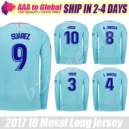 Wholesale Messi Away - Suarez long sleeve Soccer jersey 2018 home away Blue INIESTA MESSI long sleeve Jersey thai quality Man football long shirt