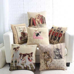 Wholesale Chair Covers Linens - Dog Cat Horse Pillow Case without Filling 45x45cm Animal Decoration Sofa Chair Linen Cotton Cushion Cover Vintage Throw Pillow Cover
