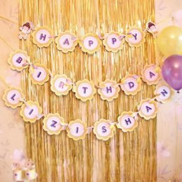 Wholesale Wedding Decorative Items - 3M Birthday Party Dress Up Item Shine Curtain Gold Silver Balloon Background Decorative Wedding Tassel Decoration