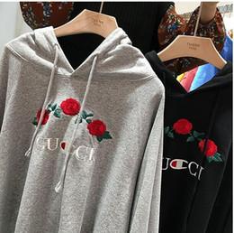 Wholesale Unisex Fleece Hooded Sweatshirts - 2017 Hiphop Brand Women CHAMPIONer Hoodies Sweatshirts Rose Embroider Men Unisex Hooded Loose Winter Autumn Fleece