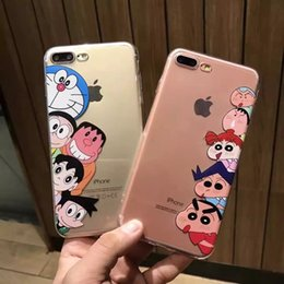 Wholesale Shin Chan Iphone Case - 10pcs lot Japan Doraemon Crayon Shin-chan Cartoon Clear Soft TPU Back Skinny Cover Case Shell For iphone6 6S 7 7PLUS Body Skinny Protector