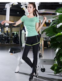 Wholesale Wholesale Outdoor Sportswear - Yoga suit suit female summer stretch Slim short-sleeved running sports outdoor fitness clothes two-piece fast-drying sportswear