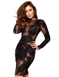 Wholesale Transparent Bandage Dress - Stylish Light Transparent Long Sleeve Floral Bandage Bodycon Women Sexy Solid Lace Party Dresses Lady Daily Casual Work Office Dress W850328