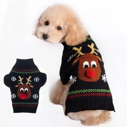 Wholesale Black Dog Nose - New Style Autumn And Winter Christmas Pet Knitted Sweater Red Nose Deer Keep Warm Vest Small Dogs Black