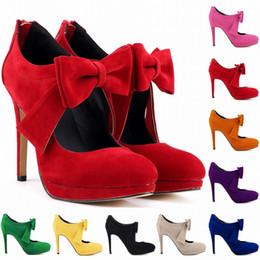 Wholesale White Pump Shoes Size 11 - Europe Style Cute Girls Shoes Platform High Heels Ladies Bowtie Women Pumps Wedding Dress Women Shoes US Size 4-11 D0003