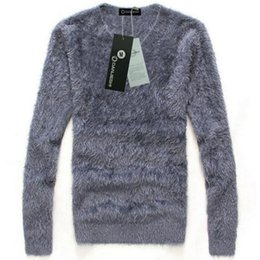 Wholesale Men Winter Sweater Fur - Wholesale- European Brand Winter Style Men's Faux Fur Pullover And Sweater New 2016 Fall Fashion Fleece Jumpers For Man