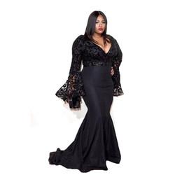 Wholesale Tulle Grammy - 2016 Grammy Awards Plus Size Celebrity Dresses Long Sleeves Jazmine Sullivan Sequins Prom Gowns Black Lace Mermaid Evening Dress