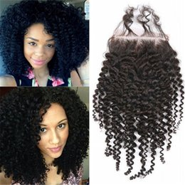 Wholesale 4x4 Lace Frontal - 4x4 Brazilian Human Hair Lace Closure Curly wave Free Middle Three part Lace Frontal Closure Peruvian Indian Hair Top Closure