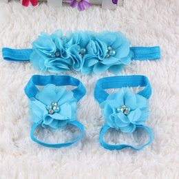 Wholesale Bit Flower - Foreign trade wholesale children hand - sewn chiffon water drill bit flower belt foot flower suit Europe and the United States baby wrist