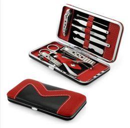 10 In 1 10 pz / set In Acciaio Inox Pedicure Manicure Set Nail Clipper Forbici Nail Care Nipotina Cutter Cuticole Kit Grooming con Custodia da