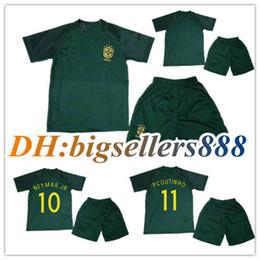 Wholesale Brazil Football Kits - 17 18 kids World Cup Soccer jersey Kits Brazil 3RD green NEYMAR JR home yellow PELE P.COUTINHO DAVID LUIZ 2018 away child Football shirts