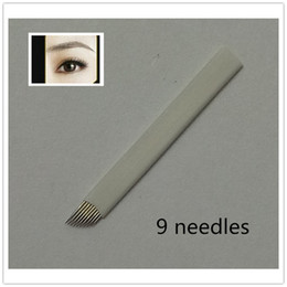 Wholesale Eyebrow Permanent - 50PCS 9-Pin Permanent Makeup Manual Eyebrow Tattoo Needles Blade For Tattoo Machine Microblading Pen Free Shipping