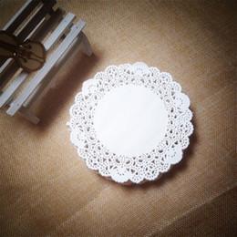 "white paper placemat Australia - Wholesale- New Arrival 200pcs 4""=115mm White Round Lace Paper Doilies   Doyleys,Vintage Coasters   Placemat Craft Wedding Table Decoration"