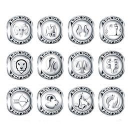 Зодиака-пандора онлайн-Оптовая стерлингового серебра 925 бусин двенадцать созвездий аксессуары зодиака из бисера шарм Fit браслет пандоры