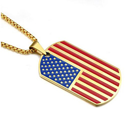 Wholesale Military American Flag - New Gold Plated Stainless Steel Military Army Tag Trendy USA Symbol American Flag Pendants Necklaces for Men women Jewelry