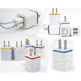 Wholesale Iphone Adapter Cube - Small Cube Dual Wall Charger Full 2.1A 1A Travel Adapter US EU plug AC Power Adapter 2 port Colorful Wall Charger DHL Free Shipping
