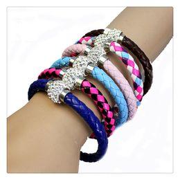 Wholesale European Cz Crystal Beads - Fashion Charm Bracelets Women Beaded Snap Jewelry PU Leather Bracelet Wristband CZ Disco Crystal Magnetic Clasp Jewelry Free Shipping