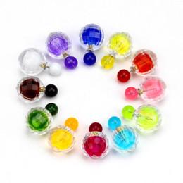 Wholesale Green Jade Crystal Stud Earrings - Beauty Women Candy Color Double Pearl Elegant Ear Stud Girls Beads Earrings