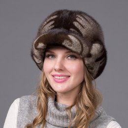 Wholesale Elegant European Hats - Wholesale-Simple whole winter mink mink fur hat warm hat elegant European and American fashion female Shibei Lei hat