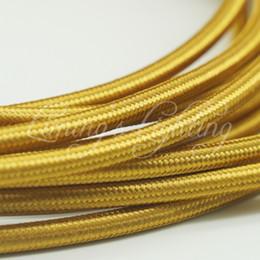 Wholesale Cloth Electrical Cord - 8M 2*0.75 Golden Edison Textile Cable Fabric Wire Chandelier Pendant Lamp Wires Braided Cloth Electrical Cable Vintage Lamp Cord