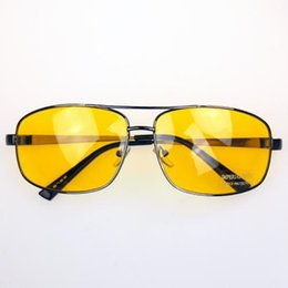 Wholesale Yellow Night Driving Glasses - Wholesale-Driver Driving High Definition Night Vision Sunglasses Yellow Lens Sun Glasses with Cleaning Cloth and bag Unisex