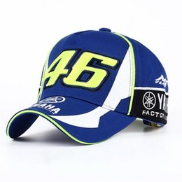 Wholesale 3d Hat Letters - High Quality MOTO GP 46 Motorcycle 3D Embroidered F1 Racing Cap Men Women Snapback Caps Rossi VR46 Baseball Cap YAMAHA Hats