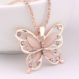 Wholesale Opal Pendant Rose Gold Chain - Women Lady Rose Gold Opal Butterfly Charm Pendant Necklace Sweater Chain Necklaces