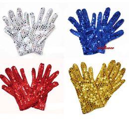 Wholesale Dance Costume For Children Wholesale - Children Halloween Sparkle Sequin Wrist Gloves for Party Dance Event Kids Unisex Costume